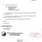 Lettera(11/09/2011)dal Capo della Polizia che attesta il risultato di un controllo di routine su Shihan Pascetta, che conferma una fedina penale pulita e lo stato di lavoratore e cittadino rispettabile.   nf     er