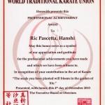 World Traditional Karate Union Award 2010