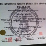 Hanshi Ric Pascetta Induction Certificate posthumously awarded for his outstanding contribution to Martial Arts, at the 3rd Annual Philadelphia Historic Martial Arts Society Hall of Fame on July 25, 2015.